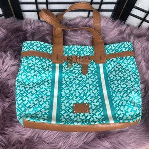 Tommy Hilfiger Cyan Signature Large Tote Bag